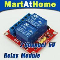 elektronik modüller ücretsiz gönderim toptan satış-Ücretsiz Kargo 5 V Arduino ARM PIC için 2-Channel Röle Modülü Kalkanı DSP Elektronik 10A # BV088 @ CF