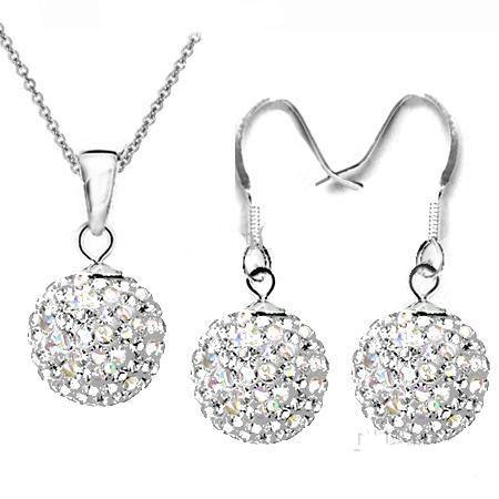 2018 heiße Verkäufe Disco-Kristall bördelt Kugel-hängende Halsketten-Ohrringe 925 Silber 18