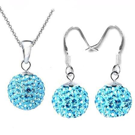 "2018 hot sales Disco Crystal Beads Ball Pendant Necklaces Earrings 925 silver 18"" O""Chains Earrings Necklace Jewellery set"