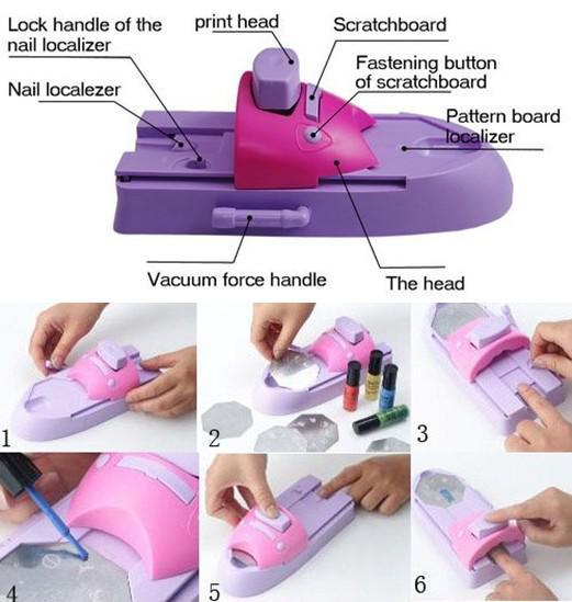 Gran Desmonte! es DIY Impresora de uñas Patrón Esmalte de uñas Máquina de impresión Nail Art Stamping Machi