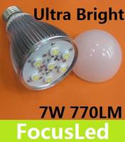 Wholesale Very Bright Light Bulbs - Very Bright 7W 770 LM E27 Led Bulb Light Globe Lamp 180 Angle Warm White 110-240V Faster Heat Sink
