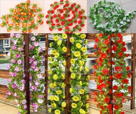 10ピース2m 6色人工シルクフラワーガーランドヴィインアイビーホームウェディングガーデン装飾