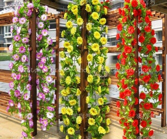 2m 6 색 인공 실크 꽃 화환 포도 나무 아이비 가정 웨딩 가든 장식
