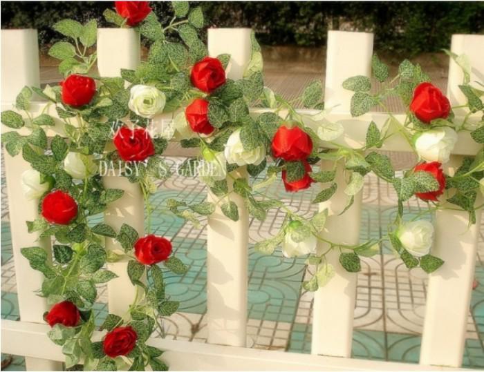 6.8ft 인공 장미 화환 실크 꽃 덩굴 아이비 홈 웨딩 정원 장식