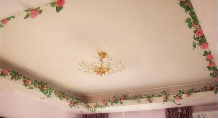 6.8ft artificielle Rose Garland Soie Fleur de vigne Ivy Accueil de mariage Décoration de jardin