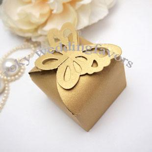 Gold Butterfly Top Candy Boxes Favors Wedding Favor Party Holder Theme Anniversary Sweet Package Reception Red