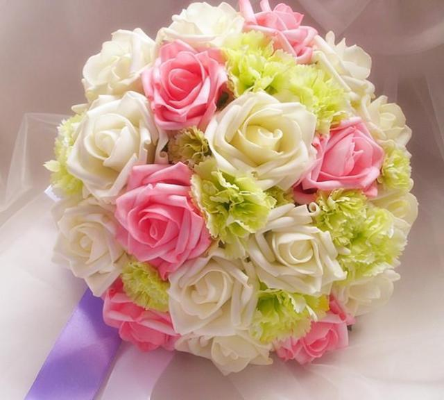 White And Pink Rose With Green Carnations Wedding Bouquet Bride Holding Flower Free Shipping