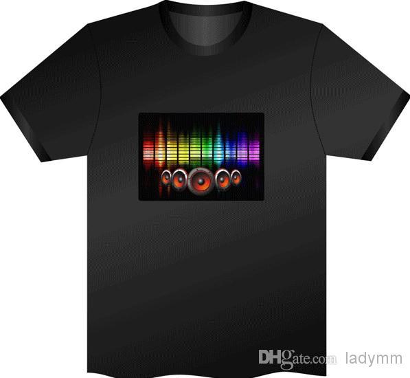 120 قطع الأزياء ، الموسيقى المعادل حزب led t-shirt ، el t-shirt الصوت المنشط اللمعان تي شيرت تضيء صعودا وهبوطا ، شحن مجاني