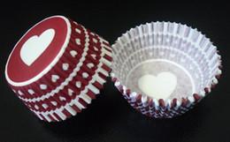 2017 прекрасный милый 4.5 дюймов 500 шт. белый сердце круг с темно-красный цвет выпечки бумажный стаканчик кекс случаях для партии от