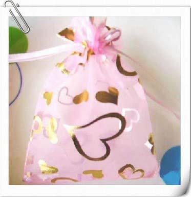 Gratis schip 200 stuks 7 * 9 cm roze hart organza voile sieraden tas geschenk tassen kerst snoep tassen