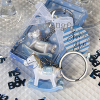 Wholesale Rocking Horse Baby Shower Favors - Free shipping!50pcs lot Baby Blue Cheery Rocking Horse Keyring Baby Shower, keyring favors,party favors