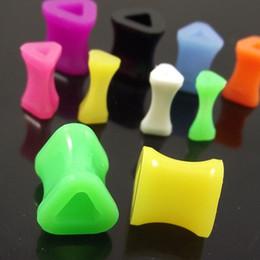 Wholesale Size Stretcher Plug - 120pcs Free Shipping mixed sizes colorful triangle shape Acrylic Stretchers Ear Plug UV body Jewelry