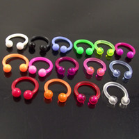Wholesale 100pcs mixed pure color SOFT lip ring Labret Nose Ring Flexible circular barbell ring