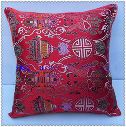 Wholesale Wholesale Damask Pillows - Pisces Pattern Cushion Covers for Couch Chair Seat Decorative 18 inch High-End Damask Double-Surface Fancy Gorgeous Pillow Cases