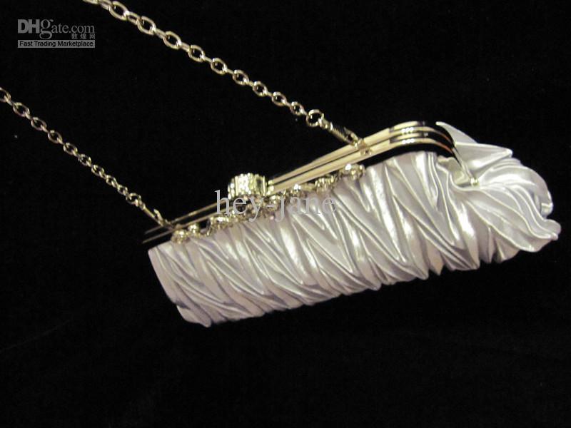 Em estoque real imagem de prata cetim plissado corda de Nupcial bolsa de embreagem Festa À Noite Bolsa R001