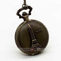 Wholesale Eiffel Tower Pocket Watches - 10PCS Vintage Bronze Eiffel Tower Arabic Numerals Time Graduation Pocket Watch Pendant Mens Watches