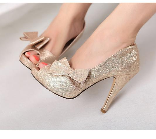 Captivating 2012 Sexy Glitter Wedding Shoes Pink Red Gold Detachable Bow Peep Toe Heel  Dress Shoes High Heels Heels From Tradingbear, $32.13| Dhgate.Com
