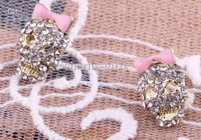 Elegante mode-kristallen schedel oorbellen