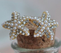 Wholesale Starfish Pearl Stud Earrings - 2017 hot sales Girl   lady Luxury Golden diamond Pearl Pentagram Earrings crystal pearl starfish earrings 10pair lot