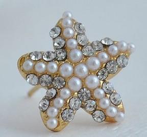 2017 ventas calientes de la muchacha / de la señora de oro de lujo del diamante de la perla pendientes del Pentagram aretes de estrellas de mar de perlas de cristal 10 par / lote
