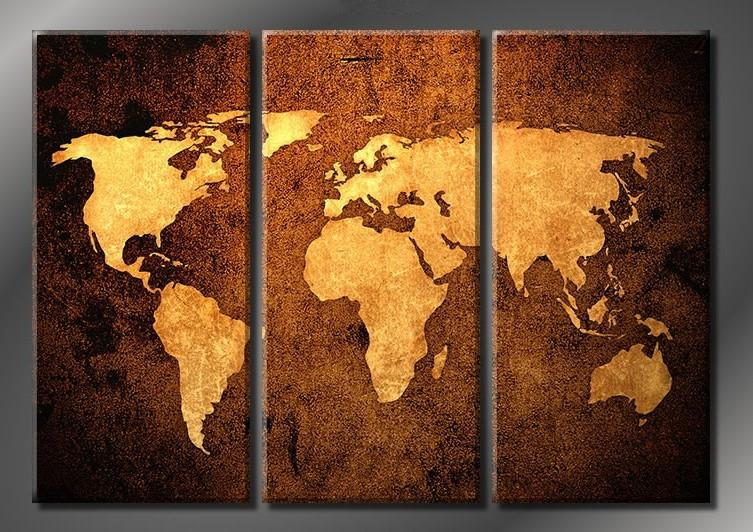 World Map Wall Decor 2017 framed world map 100% handicraft 3 panel huge modern wall