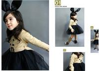 Wholesale Wholesale 12 Petal Skirt - Girl Autumn Belt Dresses Beige Jacket + Black Veil Skirt