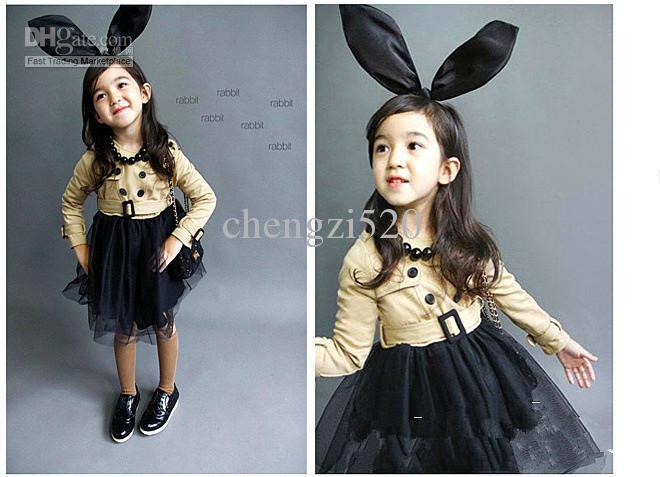女の子秋ベルトドレスベージュジャケット+ブラックベールスカート