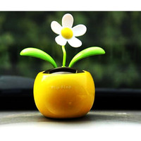 Wholesale Solar Dancing Flowers Toys - 20x New Flip Flap Solar Flower Flowerpot Swing Solar Dancing Toys Car Decor New Free Shipping