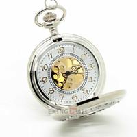 Wholesale Necklace Large Pendant - 10PCS New Silver Flower Quartz Pocket Watch Necklace Long Chain Large Pendant 4.7x4.7cm Unisex Watch