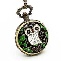Wholesale Pocket Watch Vintage Owl - 10PCS NEW Antique Vintage Retro Carving Owl Bronze Quartz Pocket Watch Necklace 4.7cm Unisex Watches