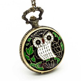 Wholesale Wholesale Pocket Watch Owl - 10PCS NEW Antique Vintage Retro Carving Owl Bronze Quartz Pocket Watch Necklace 4.7cm Unisex Watches