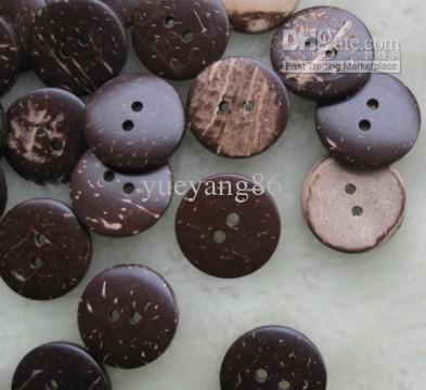 200 unids 25 mm 2 agujeros Botones de coco natural, NUEVO diseño de ropa DIY costura Prenda artesanal lote