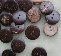 boutons artisanaux de 25 mm achat en gros de-Boutons de noix de coco naturelles 200pcs 25mm 2hole, nouvelle conception de vêtements bricolage couture vêtement artisanat lot