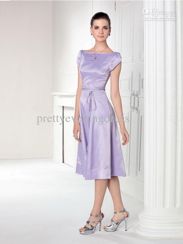 Lavender Tea Length Dresses