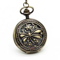 Wholesale Elegant Vintage Necklaces - 10PCS Elegant Vintage Bronze Color Dragonfly Carving Pocket Watch Necklace Ladies Men's Watches