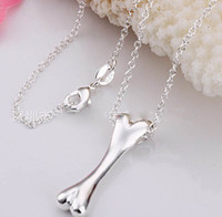 Wholesale 925 Silver Dog Chain Necklace - Fashion hot sell in Europe dog food Big Bone pendant 925 Silver Necklace Loveing Charm Free Shipping