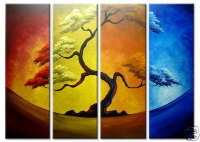 Konst modern abstrakt oljemålning på kanfas träd abstraktion cool bästa vardagsrum inredning 30x90cmx4
