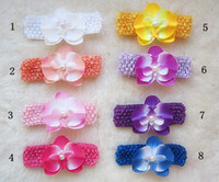 Wholesale Orchid Pearl - New style 50pcs lot Pearl Butterfly Orchid +crochet headbands Baby Girls Hairband Kid Hair Bows