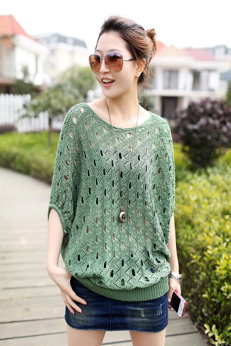 Fashion Summer Ladies' Hollow Cotton Blouses Bat-sleeve Cotton Colorful Blouse