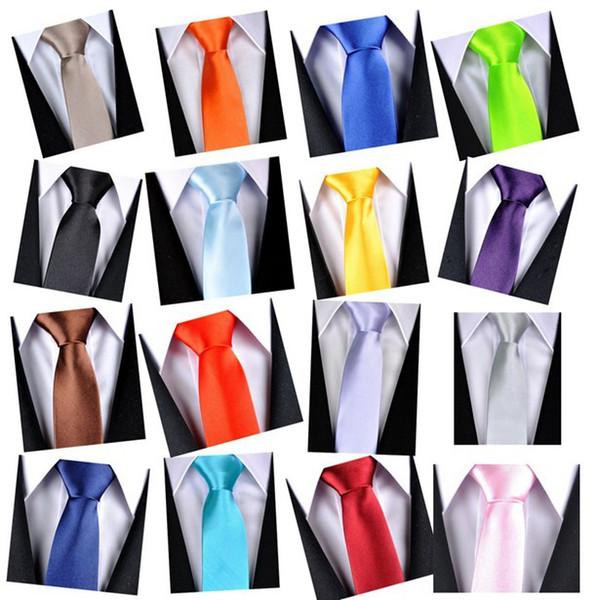 Acheter Grosses Soldes! Option Multi Couleurs Polyester Hommes Cravate Skinny Uni Solide Couleur Satin Tie Accessoires De Mariage D'affaires De $49.53