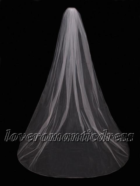 Cheap Simple Graceful Floor Length Long Wedding Veil Free Shipping Cathedral Bridal Veils