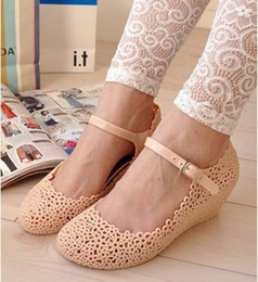Wholesale hollow hook - Fashion Women Rain Shoes Hollow Out Nest Jelly Shoes Mary Jane Wedges Shoes 2 Colors