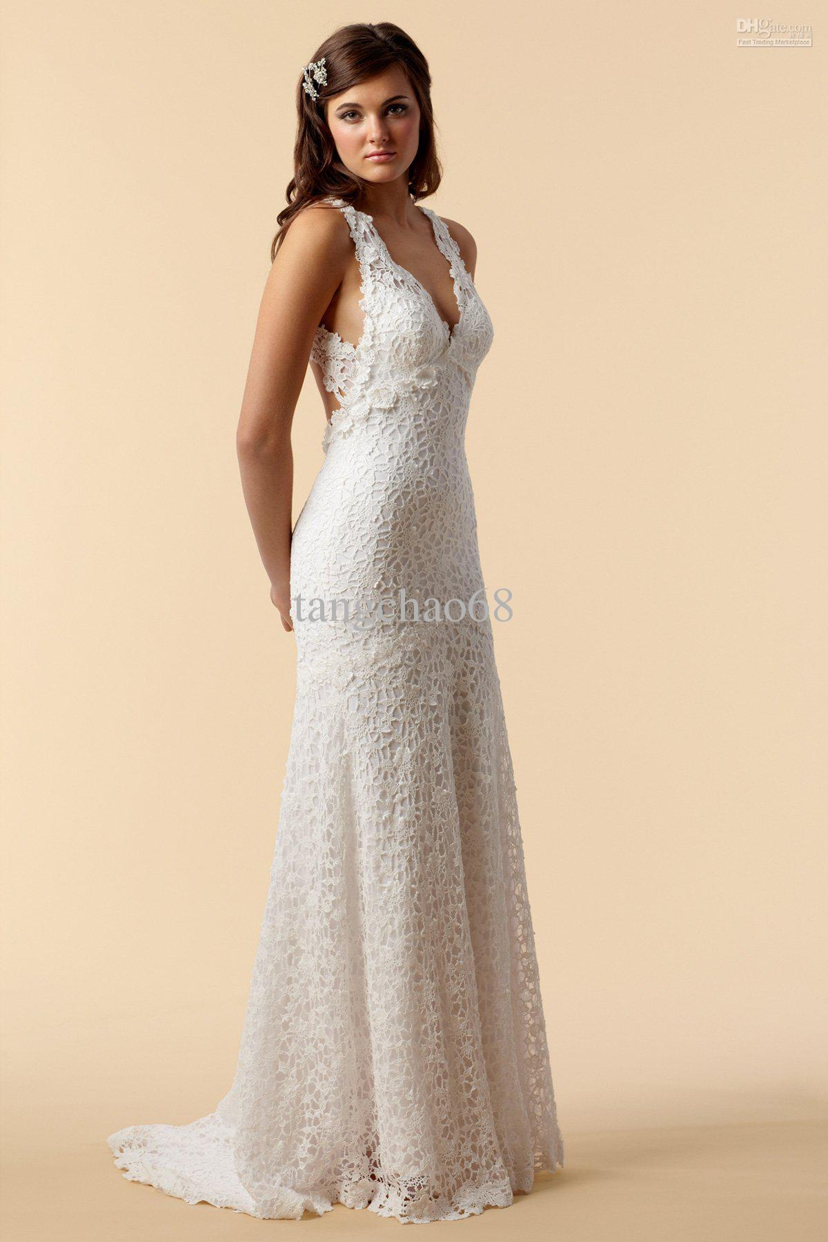 Dramatic Deep V Neck Sheath Sweep Train Lace Open Back