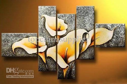 Arte Moderna Pintura A Óleo Abstrata Bela Flor Pintura 5 Pcs Canvas Art Set Arte de Alta Qualidade