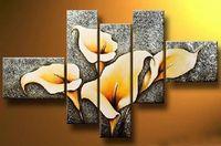 Wholesale Canvas Beautiful Flower Paint - Art Modern Abstract Oil Painting Beautiful Flower Painting 5 Pcs Canvas Art Set High Quality Artwork