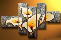 2019 abstrakte gemalte blumen Kunst moderne abstrakte Ölgemälde schöne Blume Malerei 5 Stück Leinwand Kunst Set hochwertige Artwork günstig abstrakte gemalte blumen