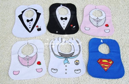 Wholesale Bib Tuxedo - The baby KIDS BLACK WHITE TUXEDO SUPERMAN BABY FEEDING BIBS EATING TOP China post free shipping