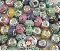 ingrosso pietre in ceramica per sterling-Commercio all'ingrosso - 50 pezzi fai da te in argento 925 pietra di pino verde mescolare europeo perline di ceramica in argento charms