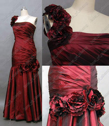 Wholesale wine flower - Wine Red Evening Dresses Gowns Mermaid One Shouder 3D Flowers Floor Length Taffeta Actual Real Image