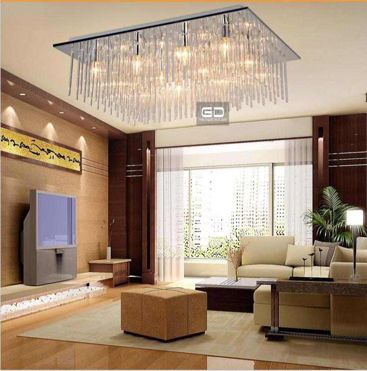 2019 modern fashion square ceiling living room bedroom lighting lamps glass rod material design for Ceiling lights for living room philippines